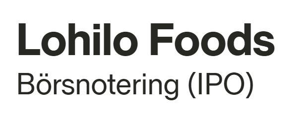 Lohilo Foods går från Pepins Market till First North